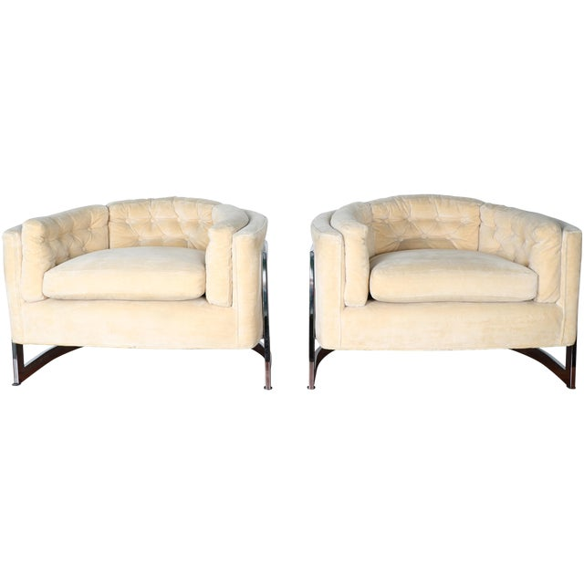 Milo Baughman Style Club Chairs - A Pair - Image 1 of 10