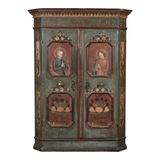 19th Century German Painted Two-Door Cabinet with Original Paint