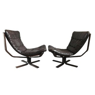 Sigurd Ressel Brown Leather Falcon Chairs - a Pair