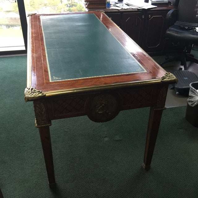 Vintage Green Top Wooden Desk - Image 3 of 6