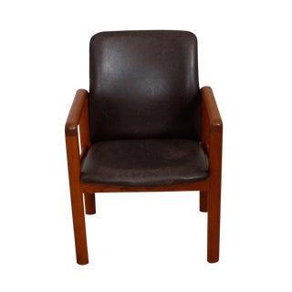 Danish Modern Teak & Distressed Leather Arm Chair