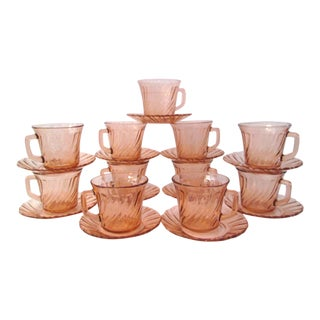Rosaline Blush Pink Cups & Saucers - Set of 11