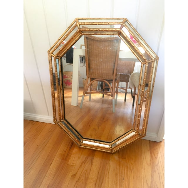 Hollywood Regency Faux Bamboo Gold Mirror - Image 2 of 11