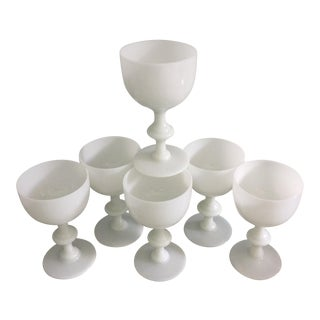 Portieux Vallerysthal White Opaline Wine Glasses Goblets - Set of 6