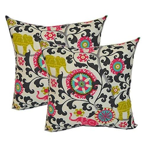 Bohemian Pink Black Elephant Pillows - A Pair - Image 1 of 2