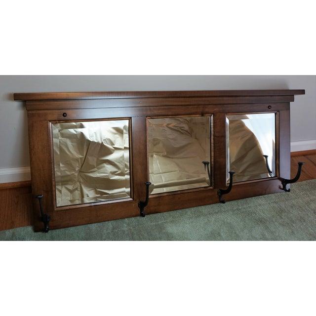 wall mount entry maple wood mirror coat rack chairish. Black Bedroom Furniture Sets. Home Design Ideas