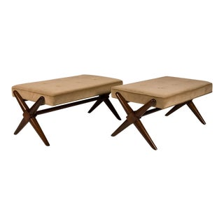 T.H. Robsjohn-Gibbings Trestle Base Benches - a Pair