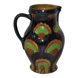 19th Century German Stoneware Hand Made Pitcher