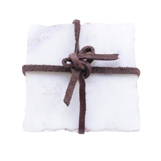 Rectangular White Marble Coasters - Set of 4