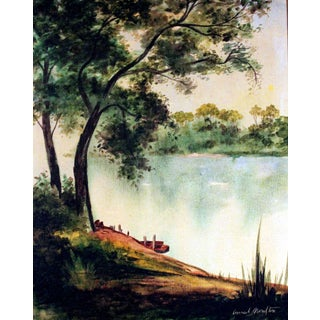 "Conrad Moulton ""Tree and Lake"" Painting Giclee Print"