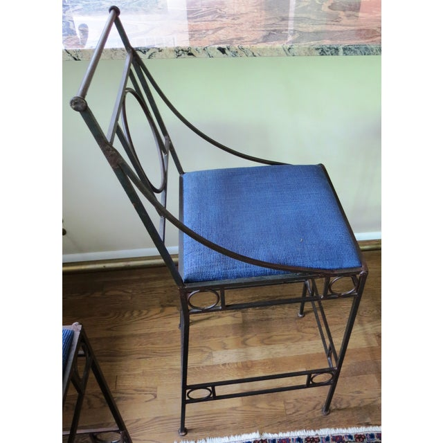 Blue Seat & Wrought Iron Bar Stools - Set of 3 - Image 4 of 6
