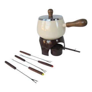 Vintage Ivory Fondue Pot - 9 Pieces