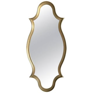 1970's Gilt Wood Cartouche-Form Framed Mirror