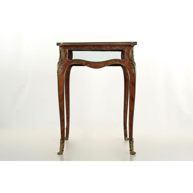 19th Century French Antique Bronze Side Table w/ Vitrine Display Case - Image 4 of 10