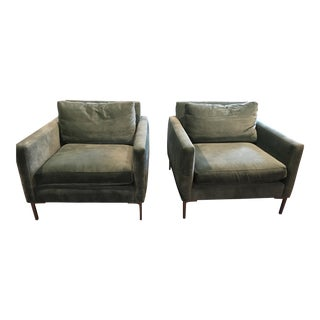 ABC Home Cobble Hill Aqua Velvet Nolita Club Chairs - A Pair