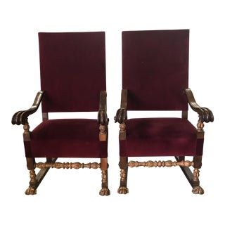 Carved Italian Red Velvet Throne Chairs - A Pair