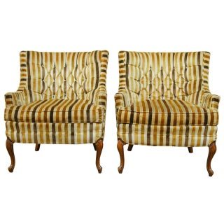 Silver Craft Velvet Tufted Club Chairs - Pair