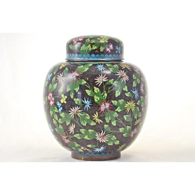 Antique Floral Cloisonné Longevity Jar - Image 3 of 9