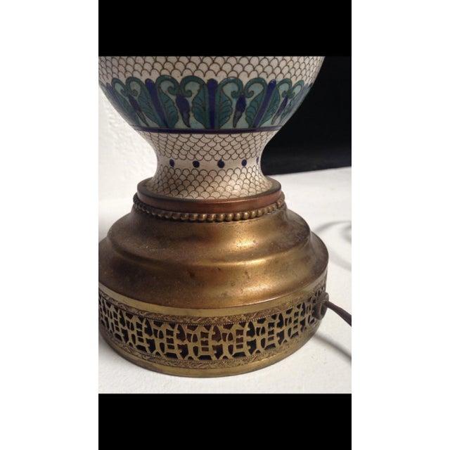 Vintage Fish Scale Cloisonné Lamp - Image 5 of 7