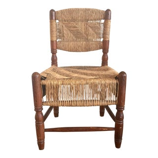 Antique Turned Wood Rush Seat & Back Chair