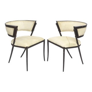 Pair of Italian Modern Klismos Form Bronze and Leather Upholstered Chairs