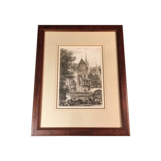 """""""An Old German Mill"""" Etching by A.H. Haig"""