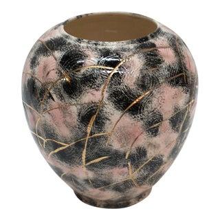 1960's Pink & Black Art Pottery Vase