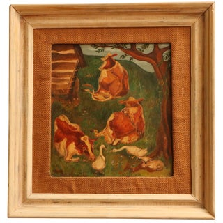 Pastoral Scene Framed Antique Painting with Cows