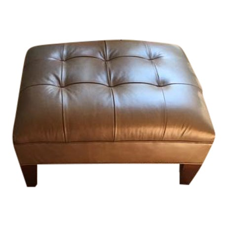 mitchell gold bob williams kennedy leather ottoman chairish. Black Bedroom Furniture Sets. Home Design Ideas