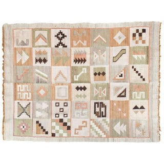 Vintage Turkish Kilim Geometric Flat-Weave
