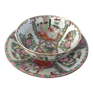 Japanese Famille Rose Porcelain Centerpiece Bowls - A Pair