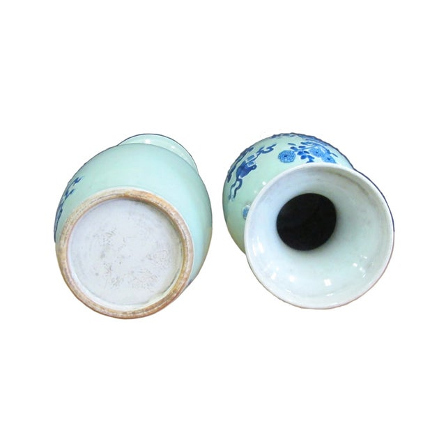 Chinese Porcelain Blue Graphic Vases - A Pair - Image 5 of 5