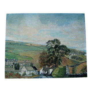 Vintage European Village Painting