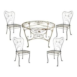 Vintage Art Nouveau Wrought Iron Patio Dining Set