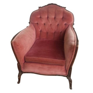Antique French Provencial Red Velvet Tufted Chair