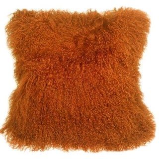 Burnt Orange Mongolian Sheepskin Pillow