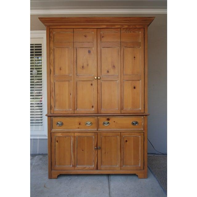 handsome knotty pine armoire chairish