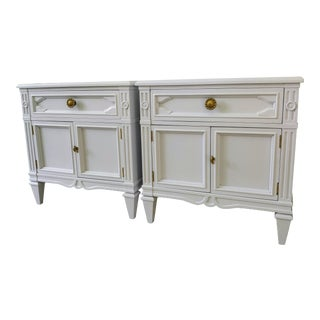 Drexel Heritage Pale Lavender Lacqured Nightstands - a Pair