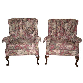 Queen Anne Style Channel Back Chairs - A Pair