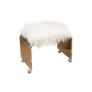 Mid-Century Lucite & Faux Lamb's Wool Bench
