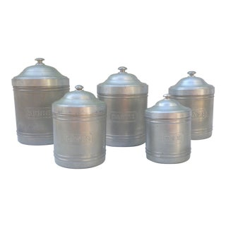 Vintage French Kitchen Canisters - Set of 5