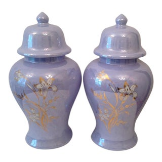 1960's Floral Lilac Ginger Jars - A Pair