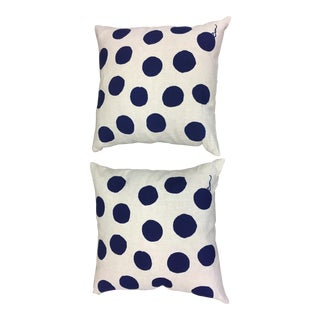 Erin Flett Blue Polka Dot Pillows - A Pair