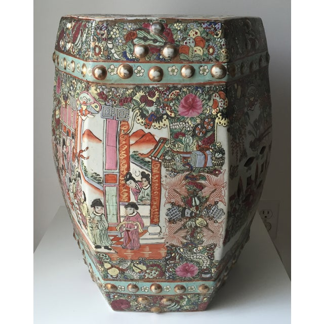 Image of Antique Chinese Ceramic Polychrome Garden Seat