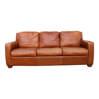 Tan Leather Vintage Sofa