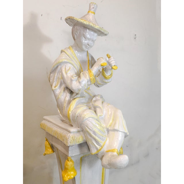 Palm Beach Style Chinoiserie Statue - Image 3 of 7