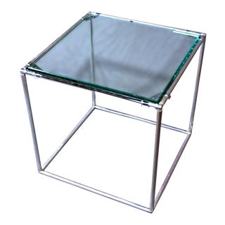 Glass Top Mid-Century Modern Chrome End Side Table