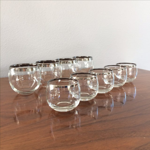 Mid Century Silver Rim Glasses - Set of 9 - Image 3 of 9