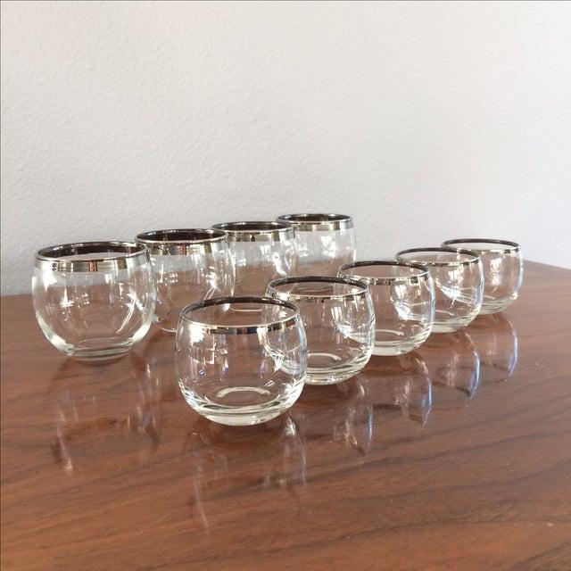 Image of Mid Century Silver Rim Glasses - Set of 9