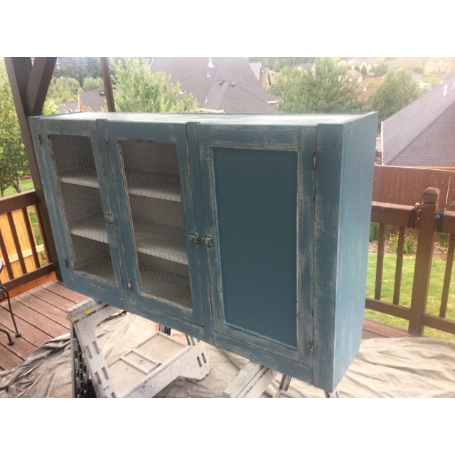 Antique Blue Wash Barn Cabinet - Image 4 of 5